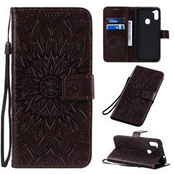 Embossing Sunflower Leather Wallet Case for Samsung Galaxy A11 - Brown