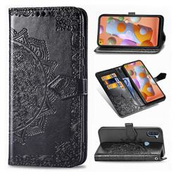 Embossing Imprint Mandala Flower Leather Wallet Case for Samsung Galaxy A11 - Black