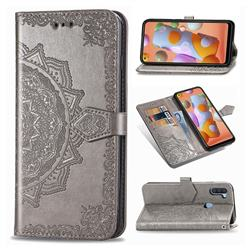 Embossing Imprint Mandala Flower Leather Wallet Case for Samsung Galaxy A11 - Gray