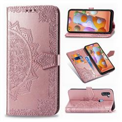 Embossing Imprint Mandala Flower Leather Wallet Case for Samsung Galaxy A11 - Rose Gold