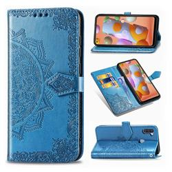 Embossing Imprint Mandala Flower Leather Wallet Case for Samsung Galaxy A11 - Blue