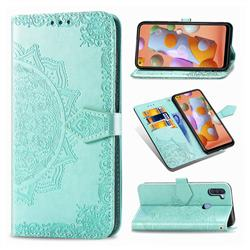 Embossing Imprint Mandala Flower Leather Wallet Case for Samsung Galaxy A11 - Green