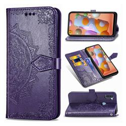 Embossing Imprint Mandala Flower Leather Wallet Case for Samsung Galaxy A11 - Purple