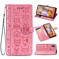 Embossing Dog Paw Kitten and Puppy Leather Wallet Case for Samsung Galaxy A11 - Pink