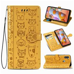 Embossing Dog Paw Kitten and Puppy Leather Wallet Case for Samsung Galaxy A11 - Yellow