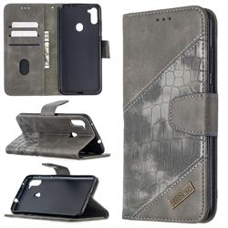 BinfenColor BF04 Color Block Stitching Crocodile Leather Case Cover for Samsung Galaxy A11 - Gray