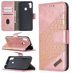 BinfenColor BF04 Color Block Stitching Crocodile Leather Case Cover for Samsung Galaxy A11 - Rose Gold