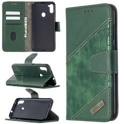 BinfenColor BF04 Color Block Stitching Crocodile Leather Case Cover for Samsung Galaxy A11 - Green