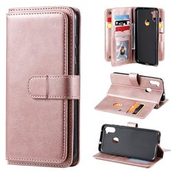 Multi-function Ten Card Slots and Photo Frame PU Leather Wallet Phone Case Cover for Samsung Galaxy A11 - Rose Gold