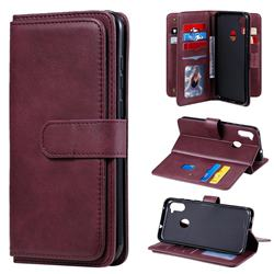 Multi-function Ten Card Slots and Photo Frame PU Leather Wallet Phone Case Cover for Samsung Galaxy A11 - Claret