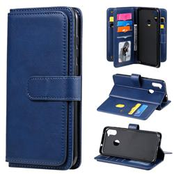 Multi-function Ten Card Slots and Photo Frame PU Leather Wallet Phone Case Cover for Samsung Galaxy A11 - Dark Blue