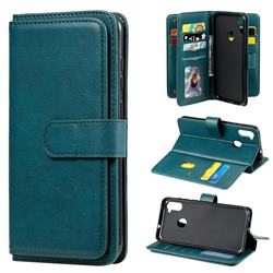 Multi-function Ten Card Slots and Photo Frame PU Leather Wallet Phone Case Cover for Samsung Galaxy A11 - Dark Green