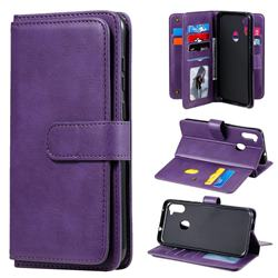 Multi-function Ten Card Slots and Photo Frame PU Leather Wallet Phone Case Cover for Samsung Galaxy A11 - Violet