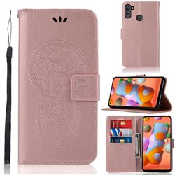 Intricate Embossing Owl Campanula Leather Wallet Case for Samsung Galaxy A11 - Rose Gold