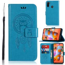 Intricate Embossing Owl Campanula Leather Wallet Case for Samsung Galaxy A11 - Blue