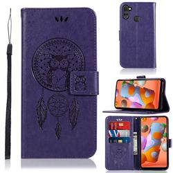 Intricate Embossing Owl Campanula Leather Wallet Case for Samsung Galaxy A11 - Purple