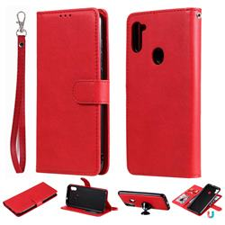 Retro Greek Detachable Magnetic PU Leather Wallet Phone Case for Samsung Galaxy A11 - Red