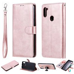 Retro Greek Detachable Magnetic PU Leather Wallet Phone Case for Samsung Galaxy A11 - Rose Gold