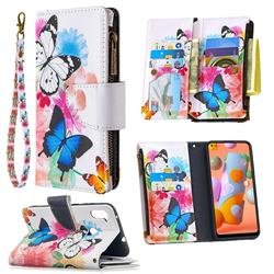 Vivid Flying Butterflies Binfen Color BF03 Retro Zipper Leather Wallet Phone Case for Samsung Galaxy A11