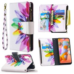 Seven-color Flowers Binfen Color BF03 Retro Zipper Leather Wallet Phone Case for Samsung Galaxy A11