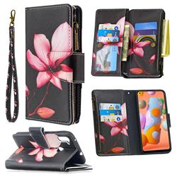 Lotus Flower Binfen Color BF03 Retro Zipper Leather Wallet Phone Case for Samsung Galaxy A11