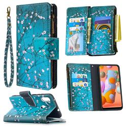 Blue Plum Binfen Color BF03 Retro Zipper Leather Wallet Phone Case for Samsung Galaxy A11