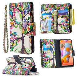 The Tree of Life Binfen Color BF03 Retro Zipper Leather Wallet Phone Case for Samsung Galaxy A11