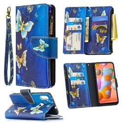 Golden Butterflies Binfen Color BF03 Retro Zipper Leather Wallet Phone Case for Samsung Galaxy A11