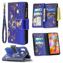 Purple Butterfly Binfen Color BF03 Retro Zipper Leather Wallet Phone Case for Samsung Galaxy A11