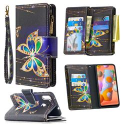 Golden Shining Butterfly Binfen Color BF03 Retro Zipper Leather Wallet Phone Case for Samsung Galaxy A11