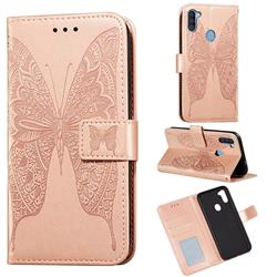 Intricate Embossing Vivid Butterfly Leather Wallet Case for Samsung Galaxy A11 - Rose Gold