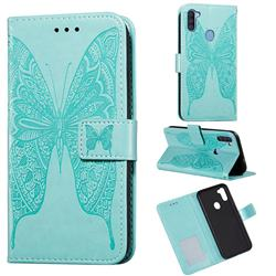 Intricate Embossing Vivid Butterfly Leather Wallet Case for Samsung Galaxy A11 - Green
