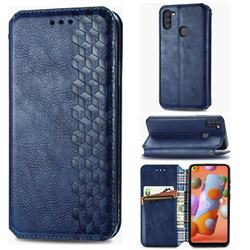 Ultra Slim Fashion Business Card Magnetic Automatic Suction Leather Flip Cover for Samsung Galaxy A11 - Dark Blue