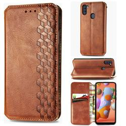 Ultra Slim Fashion Business Card Magnetic Automatic Suction Leather Flip Cover for Samsung Galaxy A11 - Brown