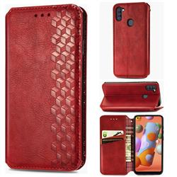 Ultra Slim Fashion Business Card Magnetic Automatic Suction Leather Flip Cover for Samsung Galaxy A11 - Red