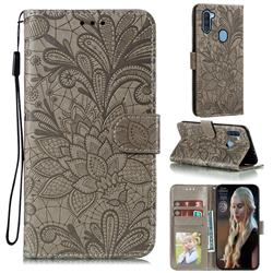 Intricate Embossing Lace Jasmine Flower Leather Wallet Case for Samsung Galaxy A11 - Gray