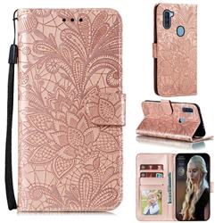 Intricate Embossing Lace Jasmine Flower Leather Wallet Case for Samsung Galaxy A11 - Rose Gold