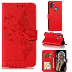 Intricate Embossing Lychee Feather Bird Leather Wallet Case for Samsung Galaxy A11 - Red