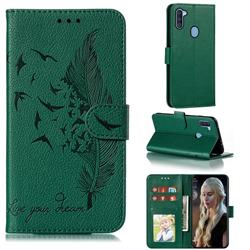 Intricate Embossing Lychee Feather Bird Leather Wallet Case for Samsung Galaxy A11 - Green