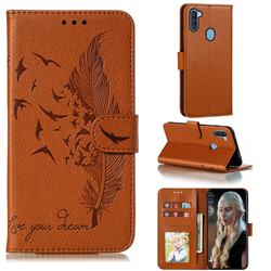 Intricate Embossing Lychee Feather Bird Leather Wallet Case for Samsung Galaxy A11 - Brown