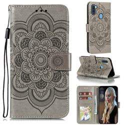 Intricate Embossing Datura Solar Leather Wallet Case for Samsung Galaxy A11 - Gray