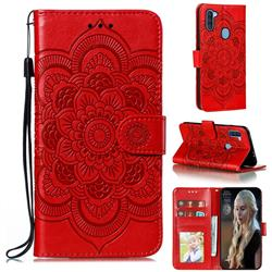 Intricate Embossing Datura Solar Leather Wallet Case for Samsung Galaxy A11 - Red