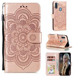 Intricate Embossing Datura Solar Leather Wallet Case for Samsung Galaxy A11 - Rose Gold
