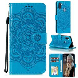 Intricate Embossing Datura Solar Leather Wallet Case for Samsung Galaxy A11 - Blue