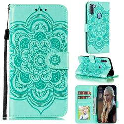 Intricate Embossing Datura Solar Leather Wallet Case for Samsung Galaxy A11 - Green