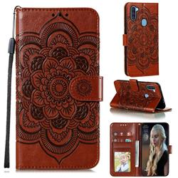 Intricate Embossing Datura Solar Leather Wallet Case for Samsung Galaxy A11 - Brown