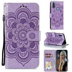 Intricate Embossing Datura Solar Leather Wallet Case for Samsung Galaxy A11 - Purple
