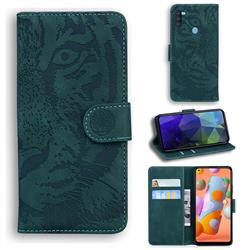 Intricate Embossing Tiger Face Leather Wallet Case for Samsung Galaxy A11 - Green