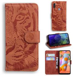 Intricate Embossing Tiger Face Leather Wallet Case for Samsung Galaxy A11 - Brown