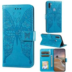Intricate Embossing Rose Flower Butterfly Leather Wallet Case for Samsung Galaxy A11 - Blue